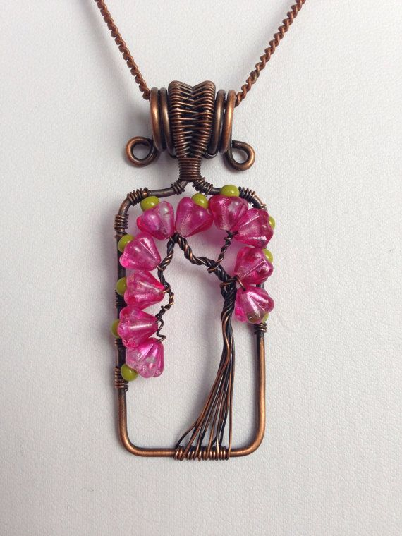 Sale, Clearance, Less Than Half Price, Tree of Life Pendant, Gift for Her, Glass Flowers