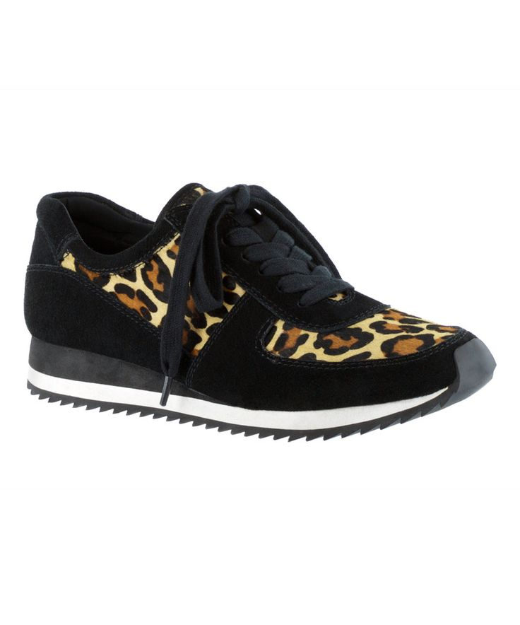 Take a look at this Black & Leopard Flannel Emile Suede Sneaker today!