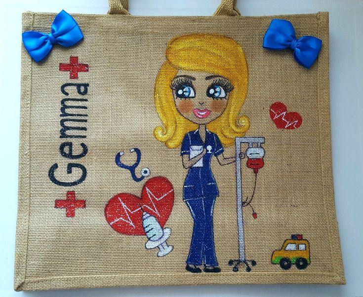 wwe.zensationart.com  #Personalised #bag #nurse #juteBag