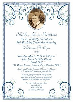 80th Surprise Birthday Invitation Wording | 90th Birthday Party Invitation