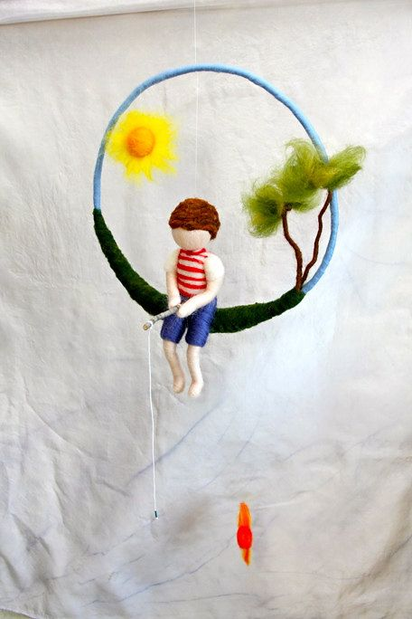Waldorf inspired needle felted doll mobile: The fishing boy. $75.00, via Etsy.