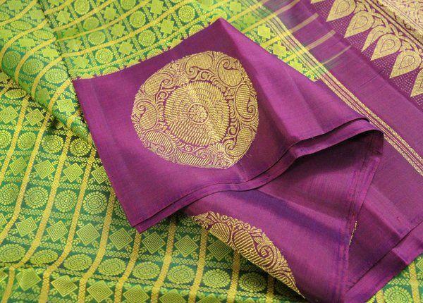 Lime Green & Purple Jacquard Pure Kanchipuram Silk Saree