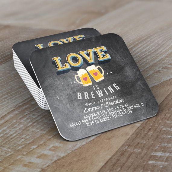 Personalized Coaster, LOVE is brewing, Coed wedding shower invitation- Beer- couples shower  -  BBQ, party decor, bridal shower, wedding