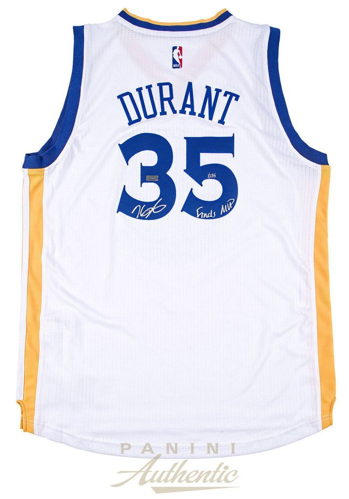 c7ef88791 KEVIN DURANT Signed Warriors White Finals MVP Inscribed Jersey PANINI Durant  Nba