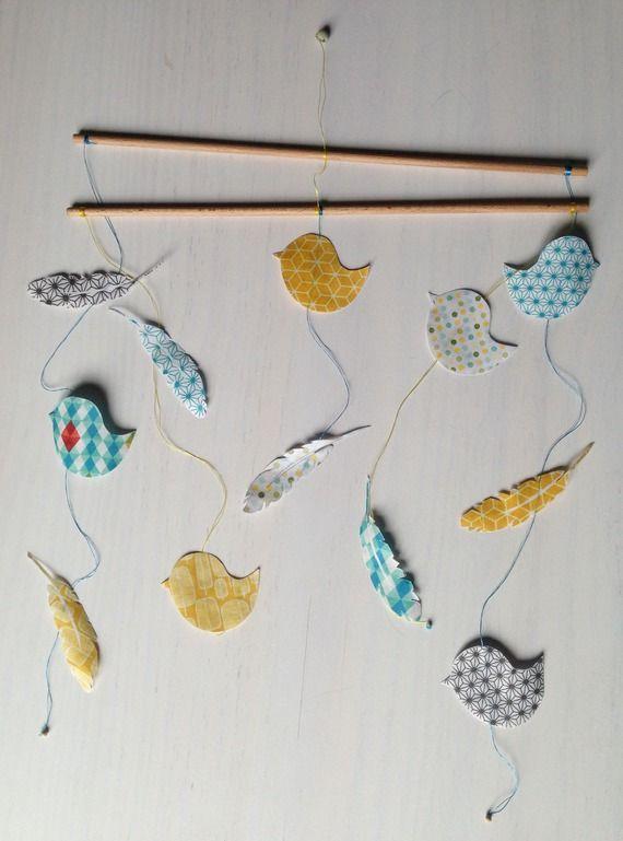 """Mobile en papier japonais washi """"moineau et plumes"""""""
