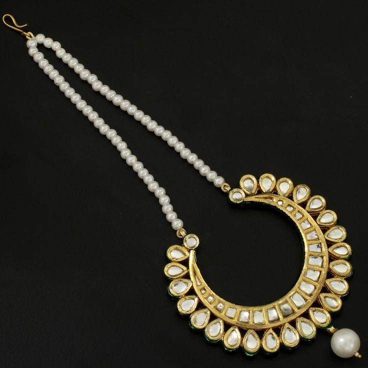 Gold Plated Pearl Kundan Meenakari Maang Tikka @ Indiatrend For $43.99USD