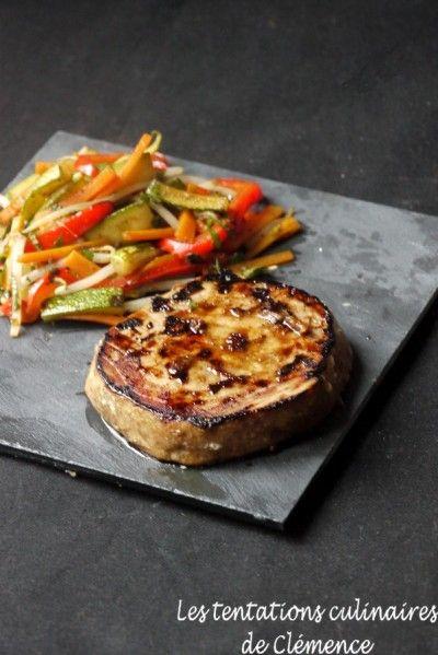 Steak de thon teryaki et poêlée de légumes à la plancha