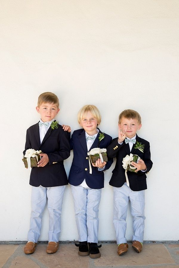 Three ring bearers looking adorable in navy jackets: http://www.stylemepretty.com/2016/10/07/san-ysidro-ranch-garden-wedding/ Photography: Kristen Beinke