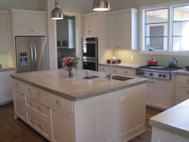 Kitchen White Island With Concrete Countertop Side By Side
