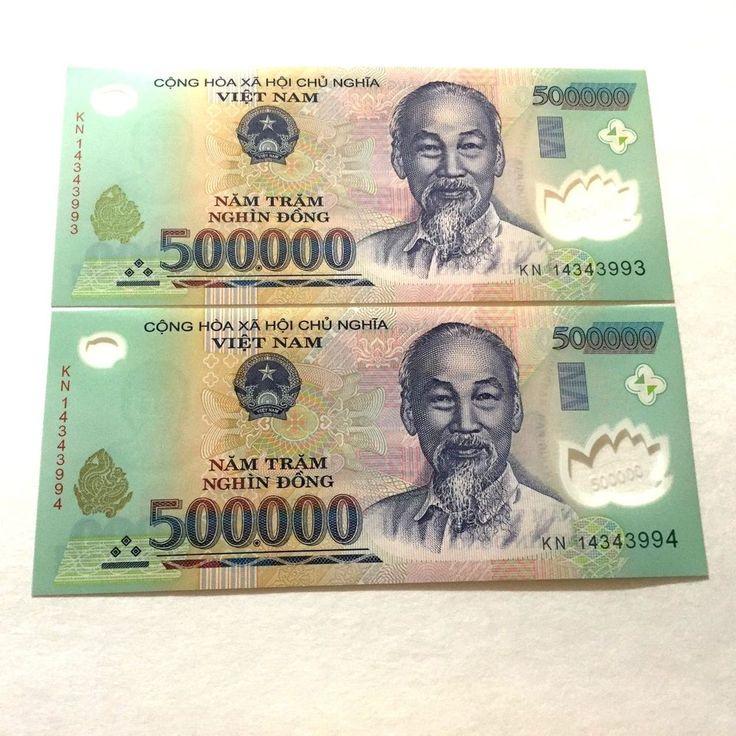 Vietnam 2 x 500,000 = 1 Million  Vietnamese Dong Currency  UNC http://www.InsaneBuzz.com
