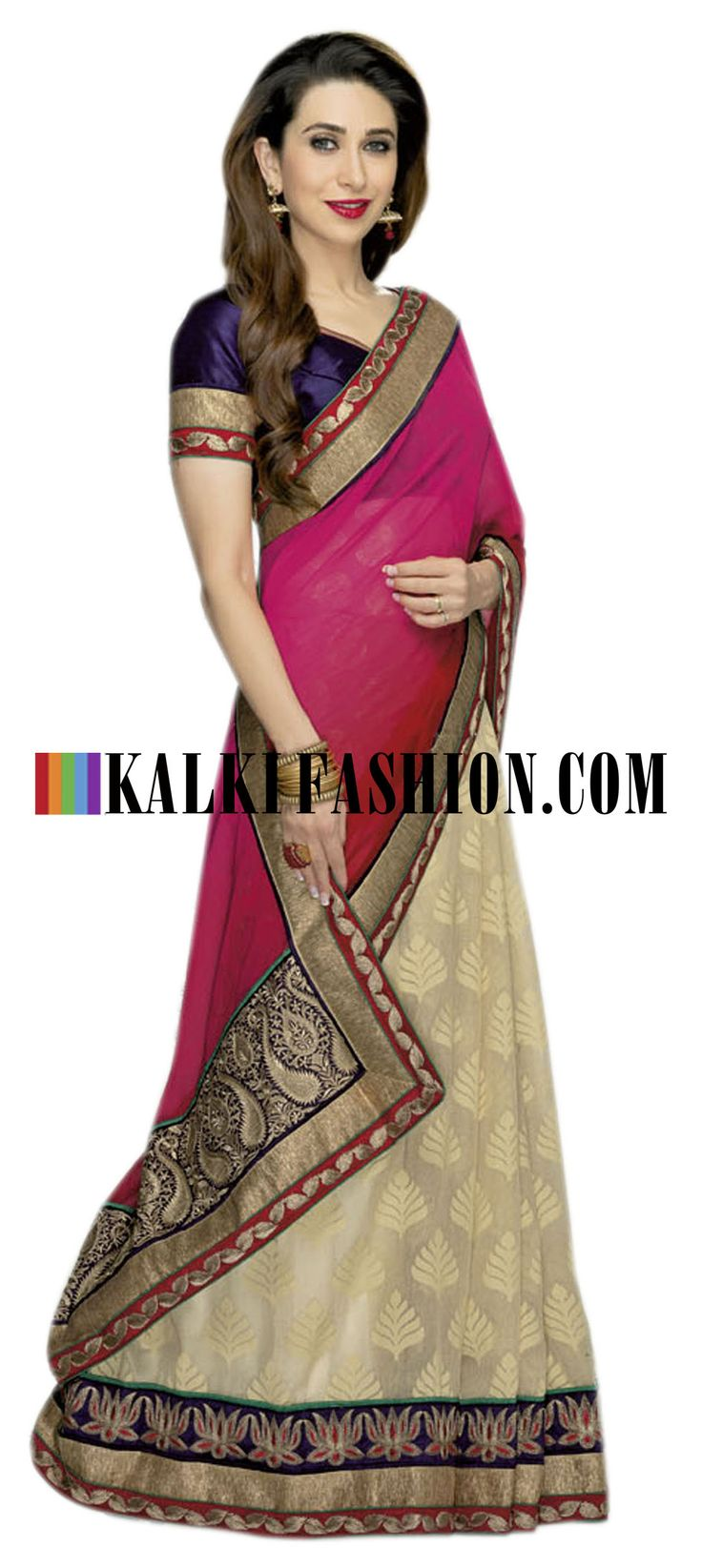 Buy it now http://www.kalkifashion.com/marron-and-cream-half-and-half-saree-with-gold-border-work.html Marron and cream half and half saree with gold border work