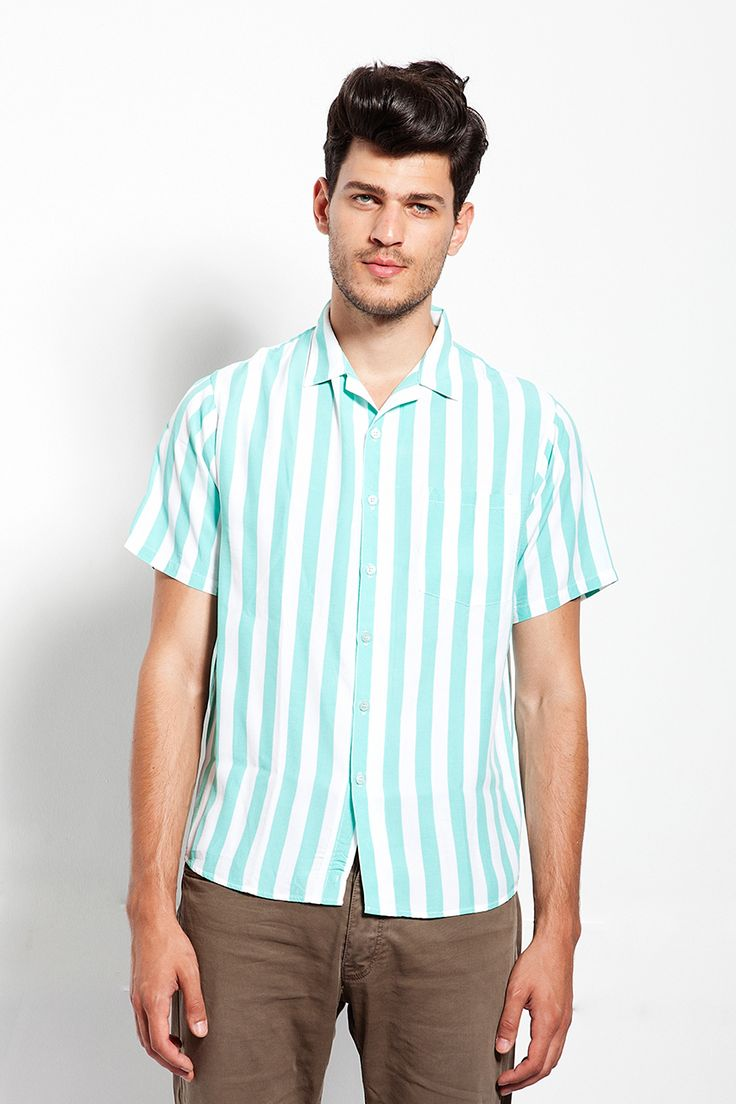 Tiffany blue stripped lapel shirt. This is the Ice Cream Shirt by MOHXA.