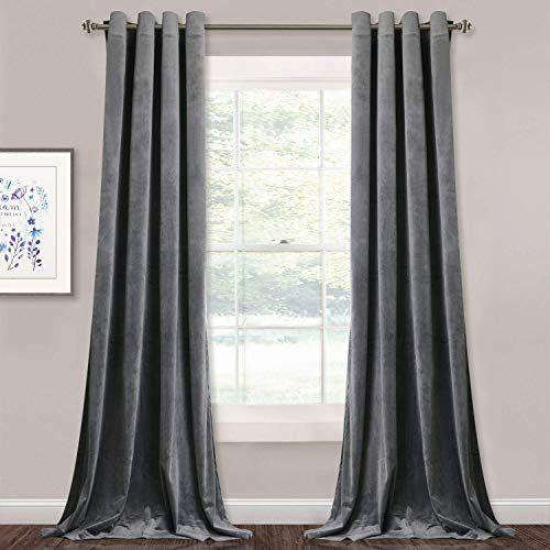 Buy Stangh Grey Velvet Curtains Living Room 96 Inches Long Light Blocking Velvet Curtain Panels Privacy Grommet