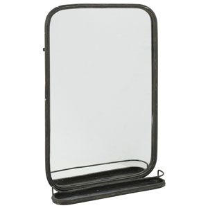 grand miroir rectangulaire noir athezza en mtal bords arrondis et tablette vide poche - Tablette Retro Salle De Bain