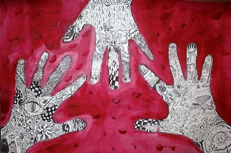 "positive space art project; ""Hands Around the World - Symbols of Power - Protection - Identity"""