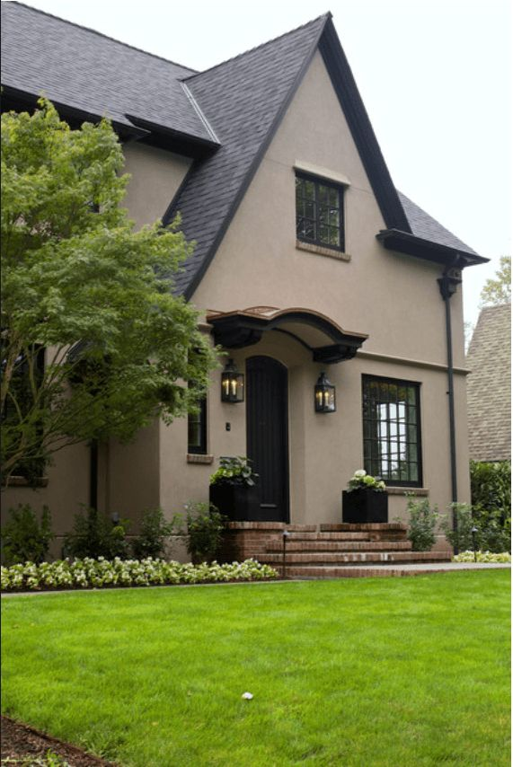 Tudor Revival Home With Warm Taupe Exterior Pantone Warm Taupe Brownish Taupe Pantone 39 Warm