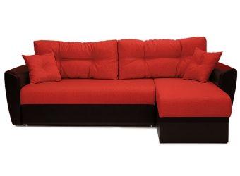 Диван угловой Andri еврокнижка красный (экокожа / рогожка) со спальным местом 150 см