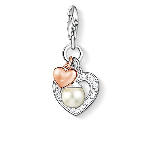Thomas Sabo Women-Charm Pendant Heart Charm Club 925 Sterling Silver 18k rose gold plating Zirconia white Freshwater Pearl 0937-426-14--42.11