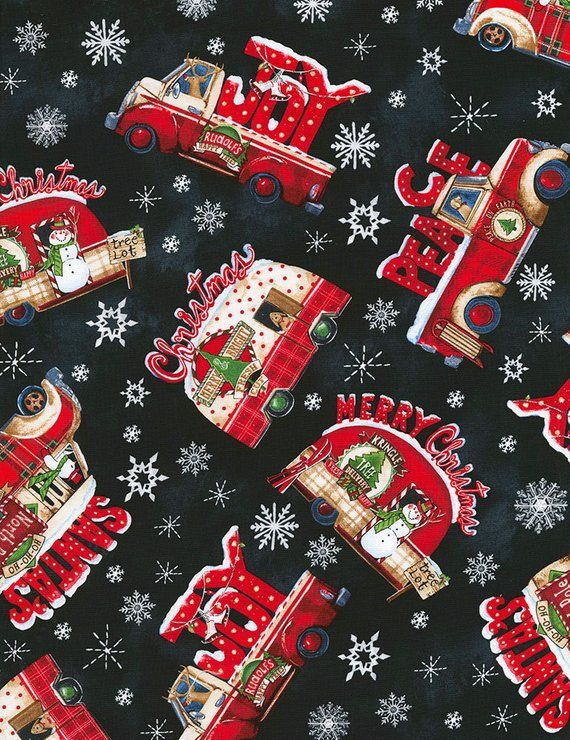 Christmas Fabric Holiday Fabric Trucks And Campers Timeless