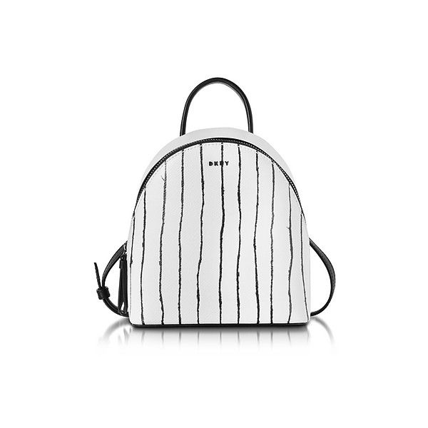 DKNY Handbags Twine Stripe Leather Mini Backpack (14,855 DOP) ❤ liked on Polyvore featuring bags, backpacks, handbags, white, dkny backpack, miniature backpack, mini leather backpack, white leather backpack and dkny