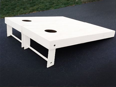 This is a pic of our white painted cornhole boards for sale at www.MidwestCornhole.com. These boards come ready to play. Order up a set today!