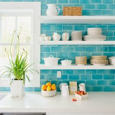 turquoise tile backsplash | 2016 Coastal Living Magazine Hamptons Showhouse