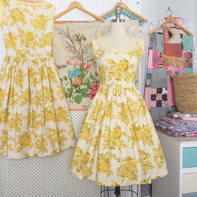 { Y E L L O W  L O V E }. Freshly finished, these two beauties are for Angela and Mona. Both have coordinating yellow trim and Miss Mona's dress has a super cute crochet collar. Aren't they just so cheerful?!? { Gertrude Made } #yellow #yellowlove #roses #vintagefabric #vintagelove #handmade #sewing #dressmaking #beautiful #cheerful #teadress www.gertrudemade.com