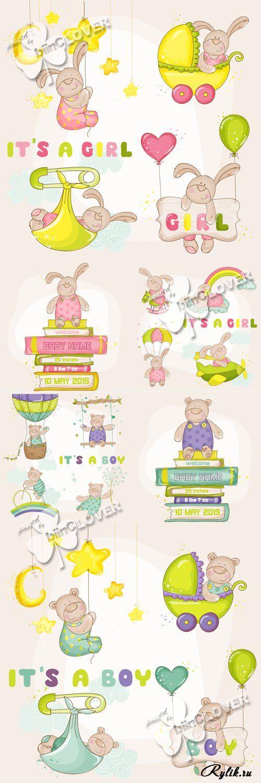 Детские рисунки - мишки и кролики в векторе. Baby Shower cards