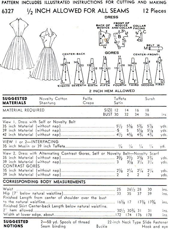 1950s Dress Pattern Advance 6327 Fit and Flare Full by paneenjerez