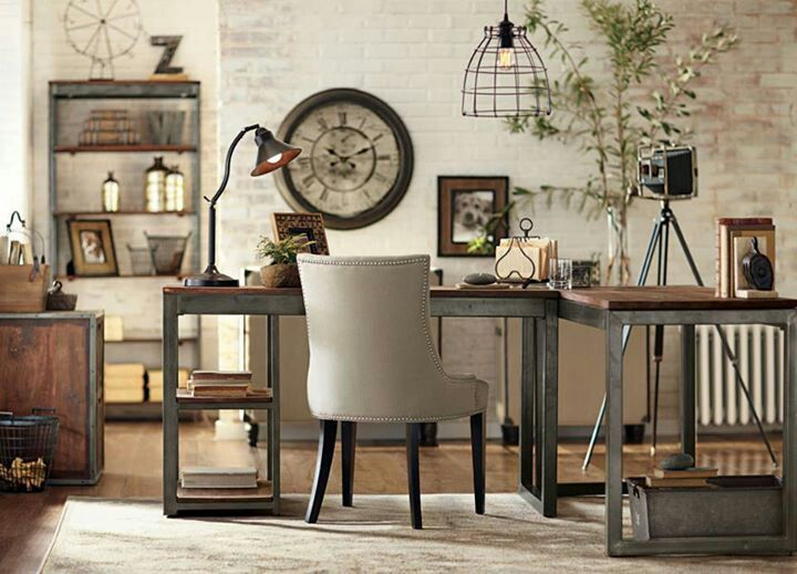 Love the mix of rustic & industrial for this office space!!! Home Decorators