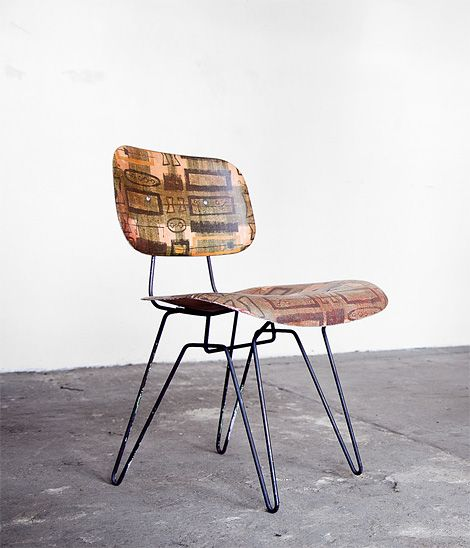 Vintage Lensol-Wells Company chair featuring fabric embedded fibreglass seat.  I love this style.