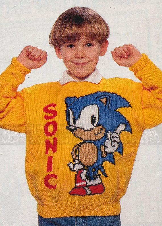 Knitting Pattern Sonic Hedgehog : vintage Adult & Childs SONIC the HEDGEHOG jumper by ...