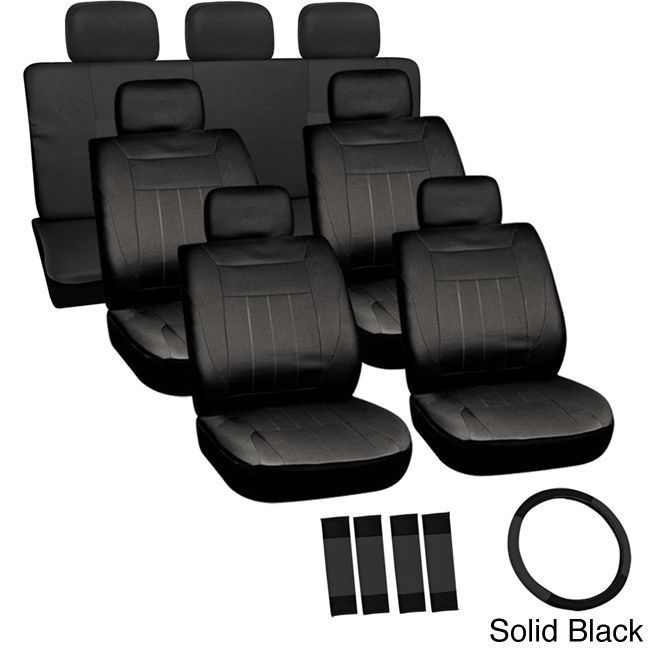 Oxgord Cloth / Mesh 17-Piece SUV Seat Covers Set for Sport Utility Vehicles with 3 Rows (Solid Black)