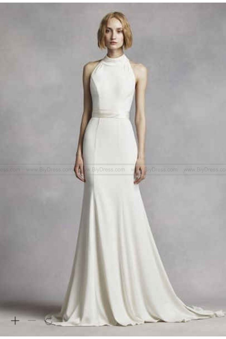 White by vera wang high neck halter wedding dress vw351263 for Average price of vera wang wedding dress