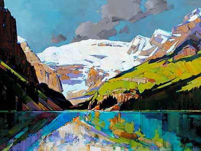 """""""Lake Louise"""" 30"""" x 40"""" Acrylic on Canvas by Min Ma, from Crescent Hill Gallery in Mississauga, ON"""