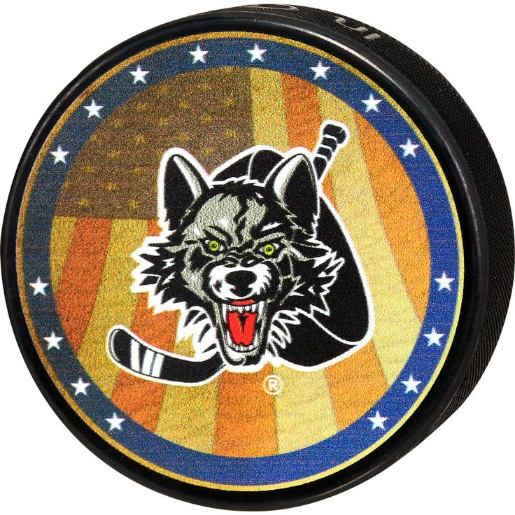 This puck features a printed design of the American flag behind the Wolves logo with an outer border with white stars. Description from chicagowolvesstore.com. I searched for this on bing.com/images