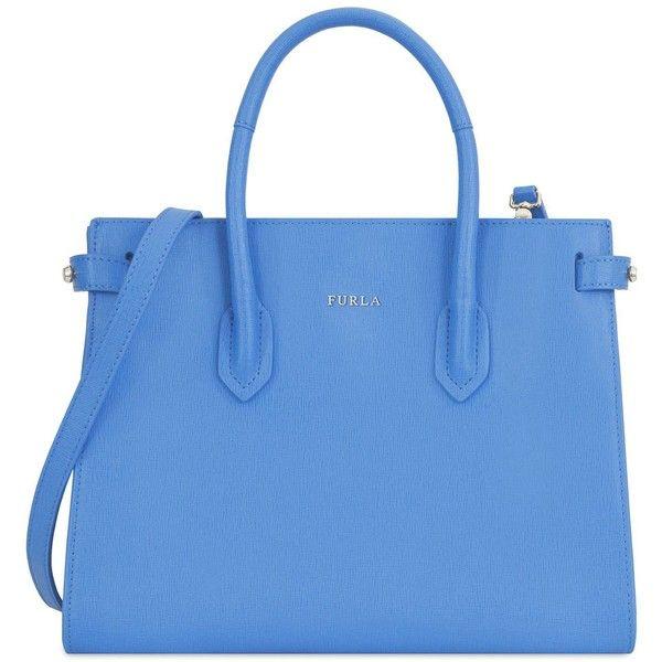 Furla Handbag (1,340 PEN) ❤ liked on Polyvore featuring bags, handbags, shoulder bags, pastel blue, genuine leather handbags, leather doctor bag, leather handbags, leather purses and blue handbags