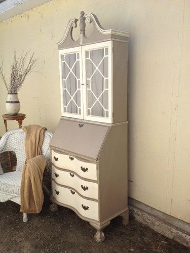 antique secretary desk with hutch | Antique secretary hutch painted cream & beige/grey. Distressed ...