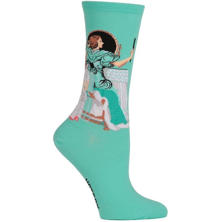 Going Out Teal Hot Sox Sz 9-11 Crew Trouser Sock Norman Rockwell New Women  #HotSox #Casual