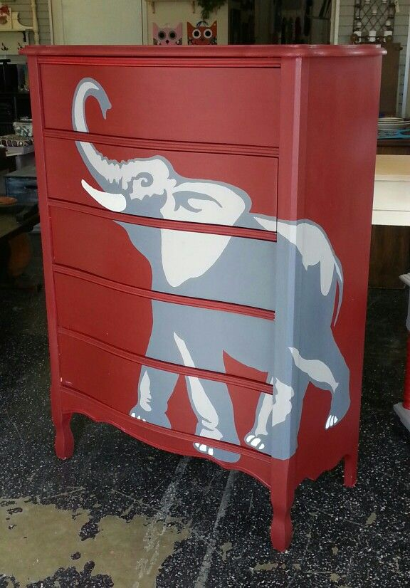 Sometimes you repurpose furniture with the football fan in mind while still considering other groups. This repurposed chest is hand painted and ready for a Alabama Crimson Tide fan. Now It is a great hand painted dresser accent repurposed the Just Repurposed way in Hanceville, AL.