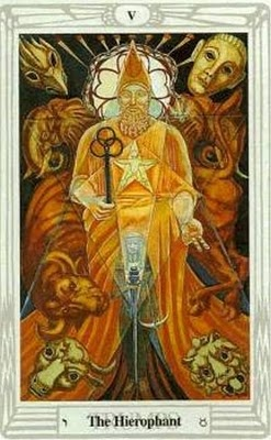 The Hierophant (Trump 5) from the Aleister Crowley Thoth Tarot, designed by Aleister Crowley and painted by Lady Frieda Harris.