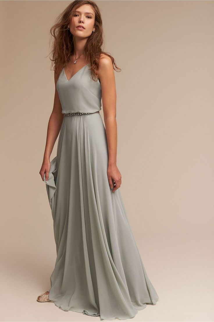 942 best bridesmaids images on pinterest wedding bridesmaids romantic bridesmaids dress idea grayish teal chiffon dress with v back beaded belt style inesse dress by bhldn get more bridesmaids inspiration by on ombrellifo Images