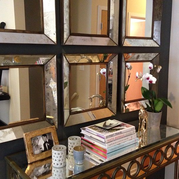 Entryway (or dining room idea). Like the use of multiple mirrors placed close together as one unit.