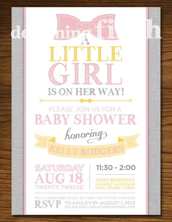 Little Girl Baby Shower Invitation with Bow by DesigningFinch, $15.00