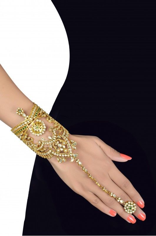 Silver Gold Plated Pearl Crystal Zircon Studded Star Jaali haath phool