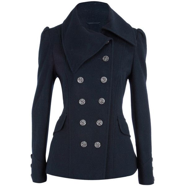 Navy nautical short coat ($92) ❤ liked on Polyvore featuring outerwear, coats, jackets, tops, casacos, women's clothing, short coat, short double breasted coat, double-breasted coat and navy blue coat
