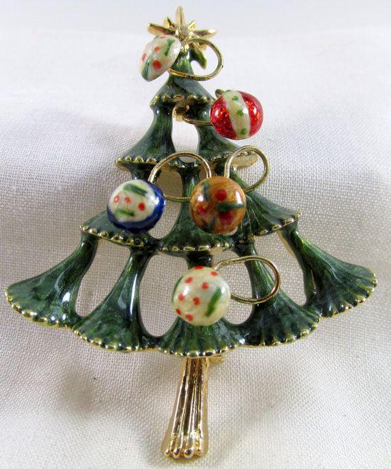 Enamel Vintage Christmas Tree Brooch with Raised Ornaments