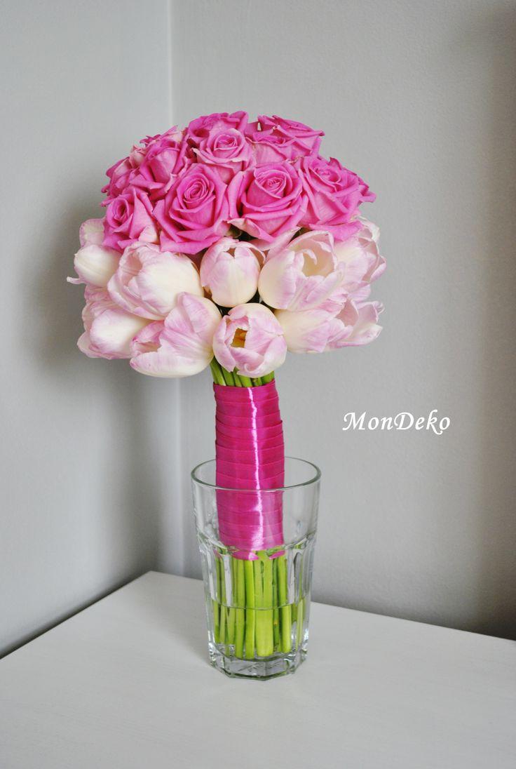 bukiet ślubny tulipany, róże