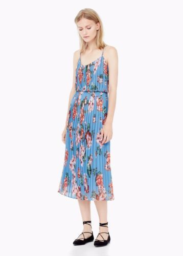5158a2922f7e Mango Blue Floral Pleated Midi Dress Wedding Races Summer Blogger XS Double  G