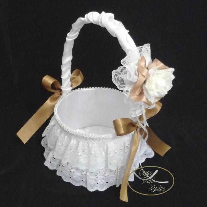 CE76 Cesta Blanca Dorada #bodas para arras anillos o petalos